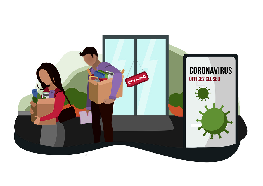 illustration of coronavirus layoffs