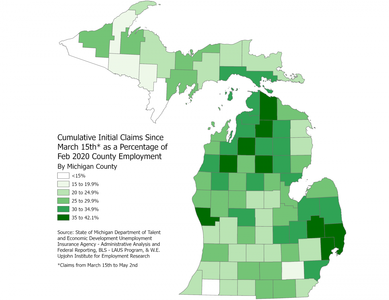 Michigan map of cumulative initial UI claims by county as share of employment